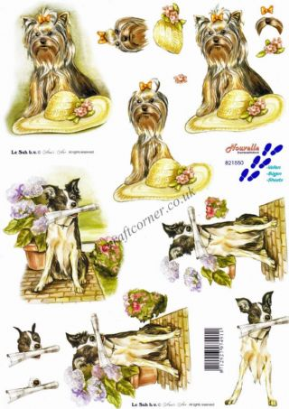 Yorkshire Terrier & Border Collie Dogs 3d Decoupage Sheet